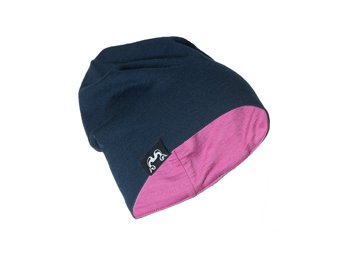 True Fleece Merino kids' beanie - Navy/Pink