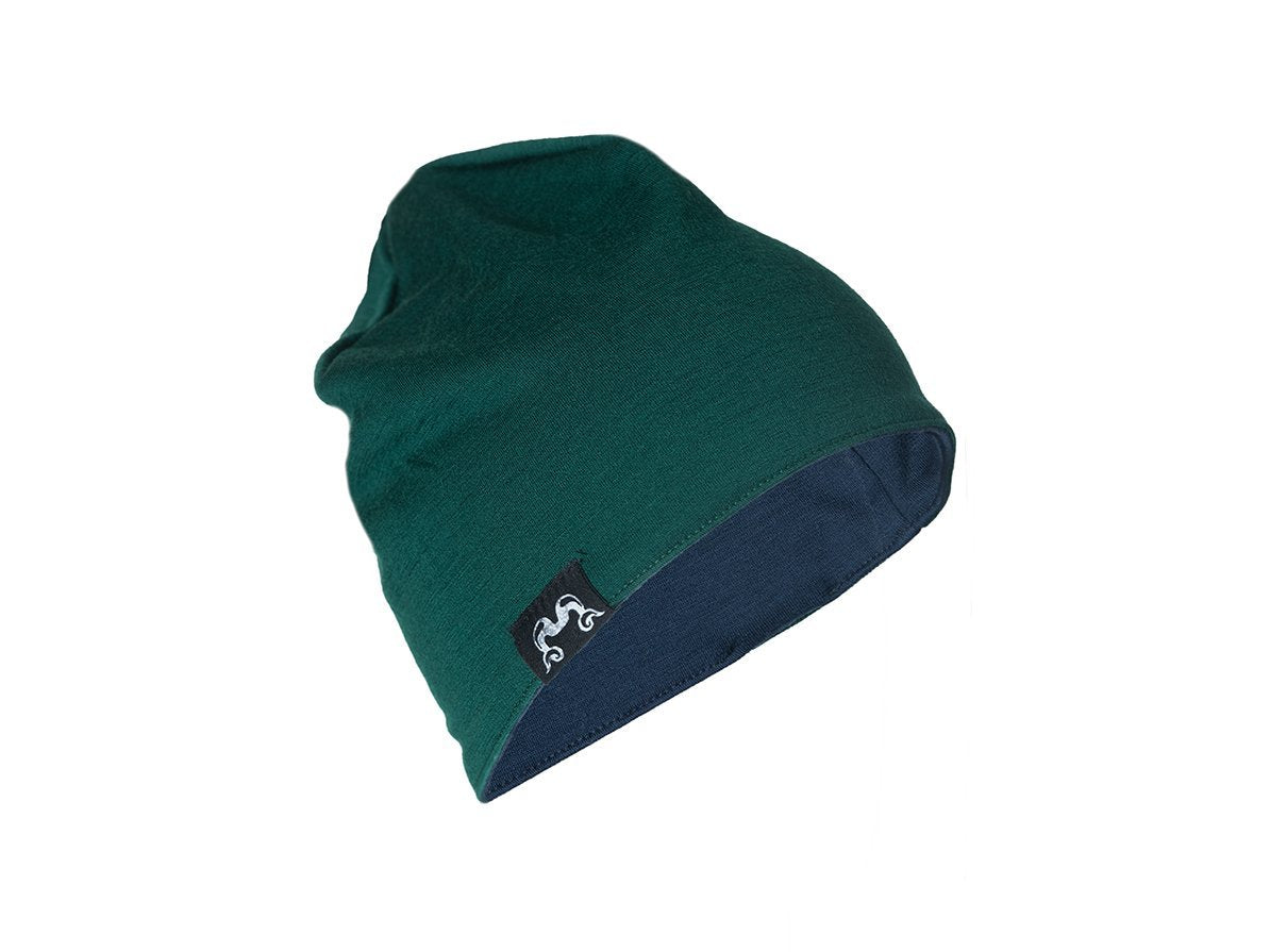 True Fleece Merino kids' beanie - Green/Navy