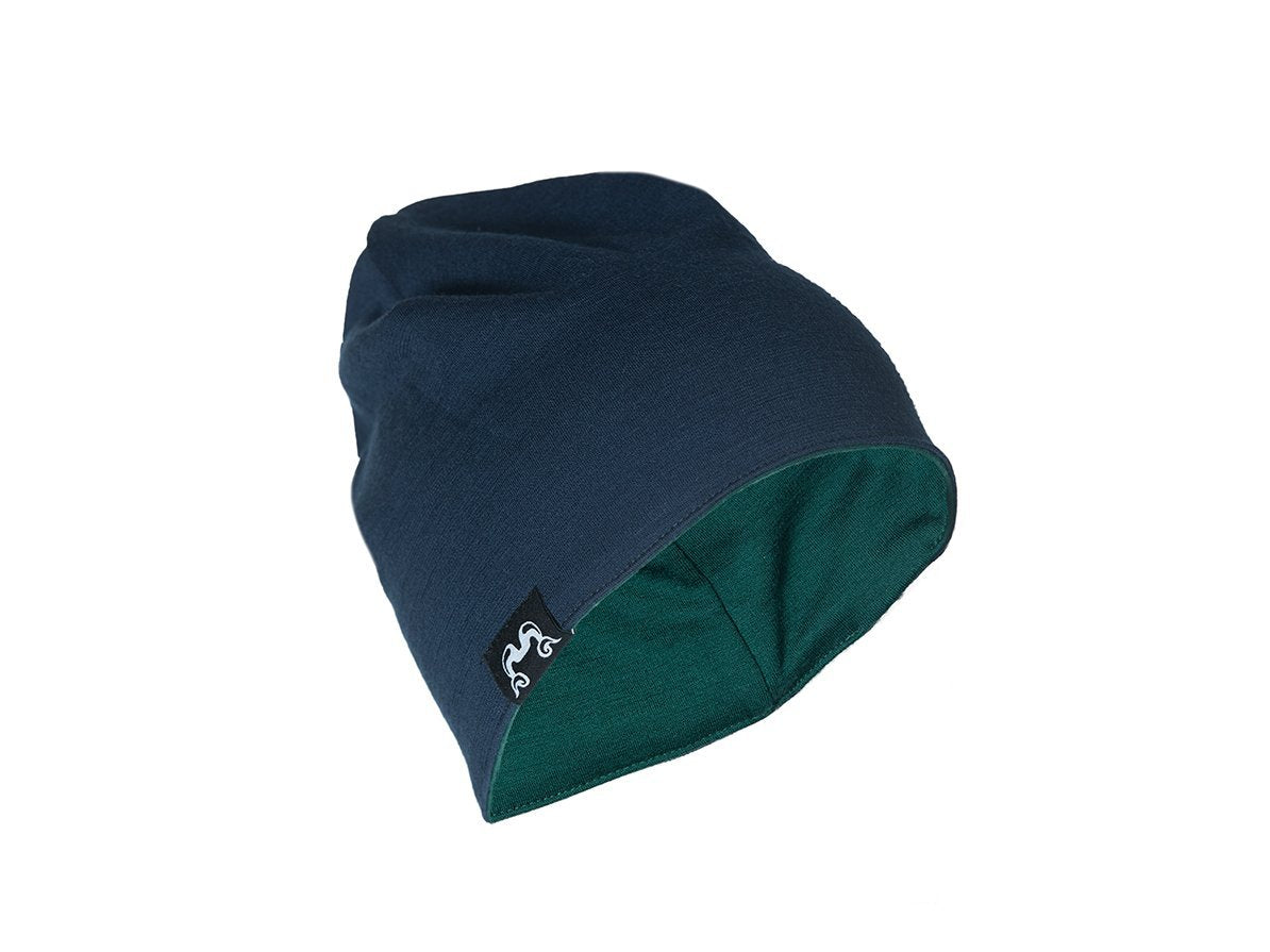 True Fleece Merino kids' beanie - Navy/Green