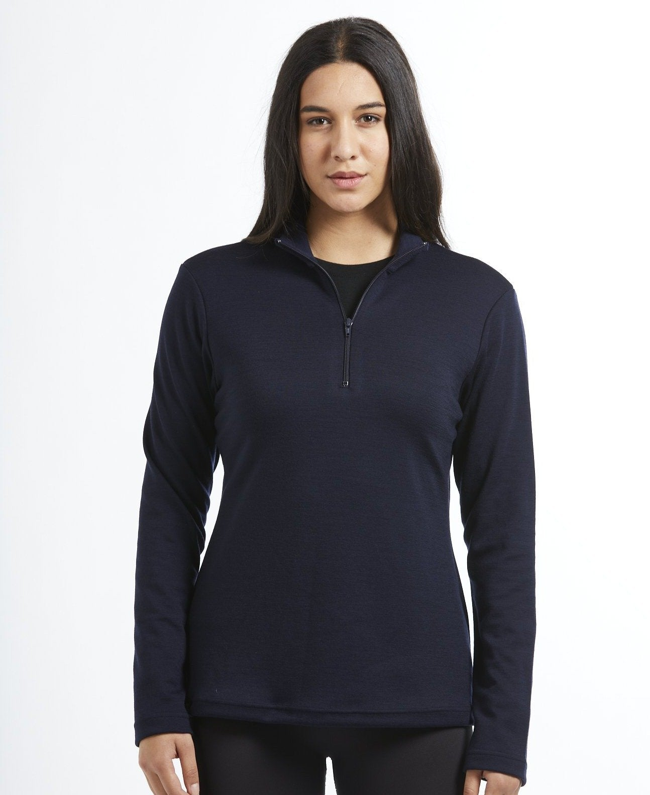 Women's Merino Wool Coast Quarter Zip Jersey - Navy