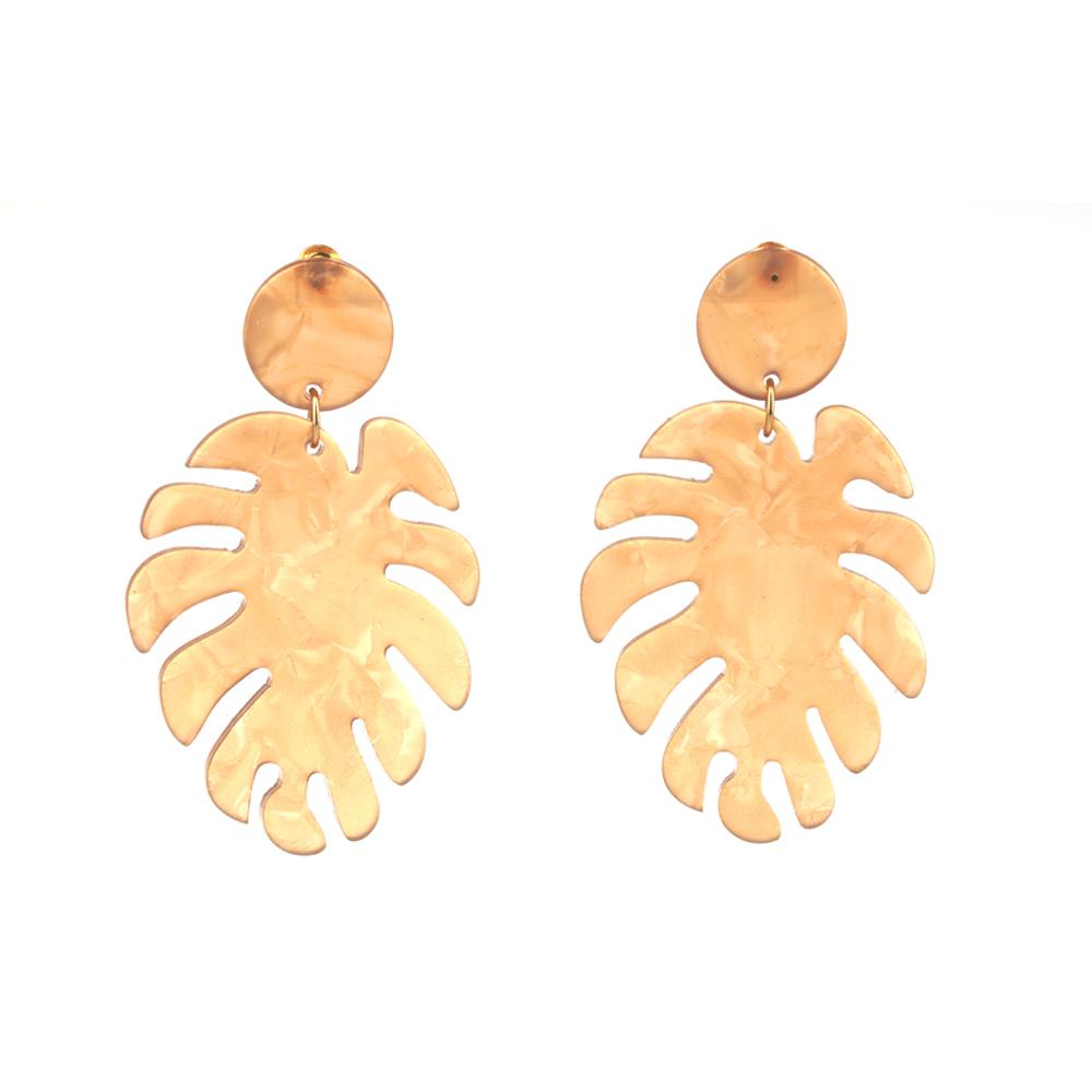 Beige Ornament Drop Earrings