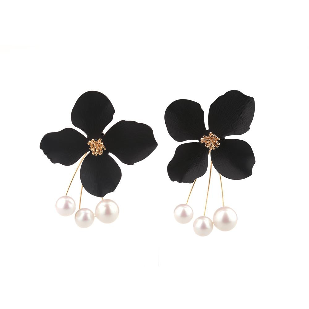 Triple Pearl and Black Petalled Flower Drop Earrings