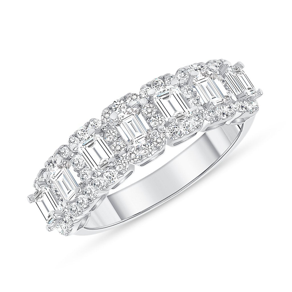1.38 CT. T.W. Diamond Baguette Cut Halo Half Eternity Band in 18K White Gold