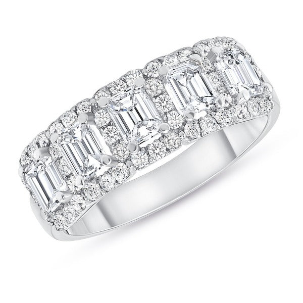 1.62 CT. T.W. Diamond Baguette Cut Halo Half Eternity Band in 18K White Gold