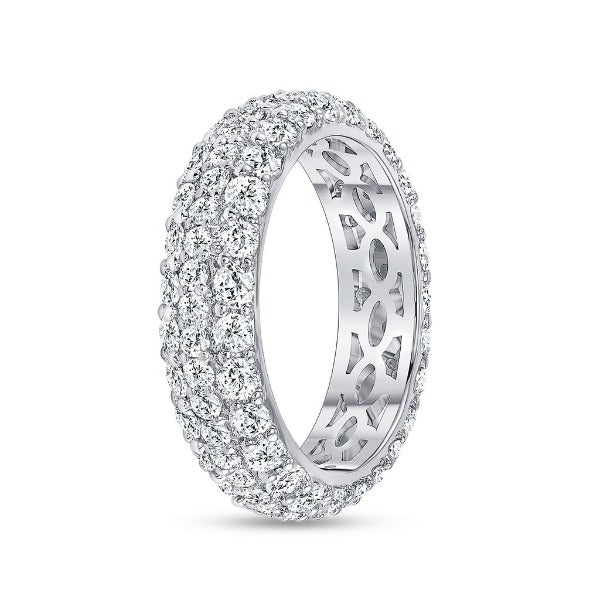 2.7 CT. T.W. Diamond Round Cut Eternity Band in 18K White Gold - LA DIAMOND