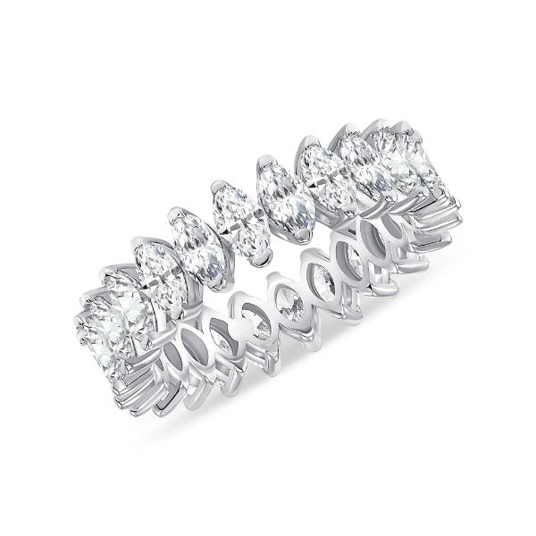 4.25 CT. T.W. Diamond Marquise Cut Eternity Band in 18K White Gold - LA DIAMOND
