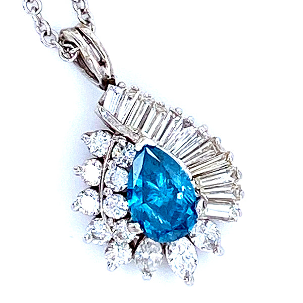 Blue Sapphire and 1/5 CT. T.W. Diamond Twisted Teardrop Pendant in 14K White Gold