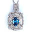 Blue Sapphire and Diamond Frame Flower Composite Pendant in 14K White Gold
