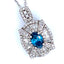 Blue Sapphire and Diamond Frame Flower Composite Pendant in 14K White Gold - LA DIAMOND
