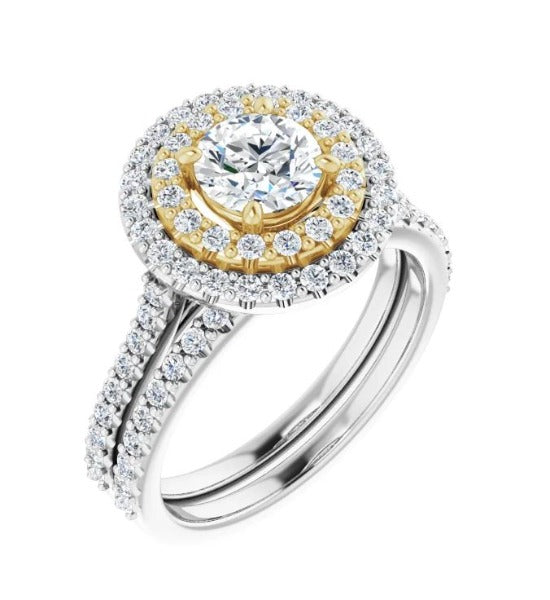 1 CT. T.W. Round-Cut Diamond Engagement Ring in 14K White and Yellow Gold