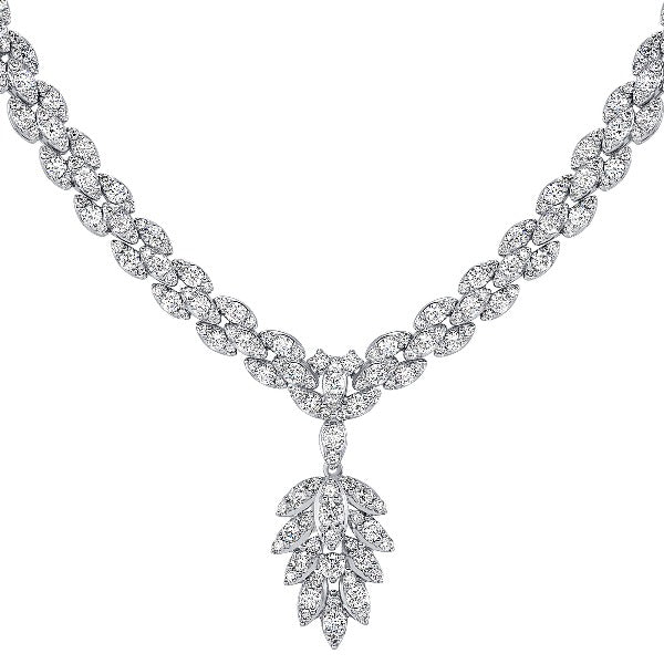2.5 CT. T.W. Marquise Diamond Leaf Necklace in 14K White Gold