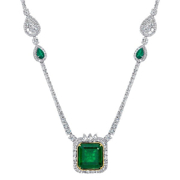Princess-Cut Emerald and 1/5 CT. T.W Diamond Necklace in 14K White Gold