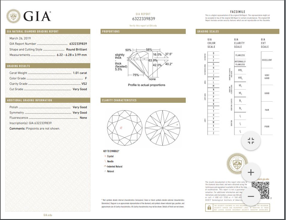 Round Brilliant Diamond 1.01 CT with GIA Certificate