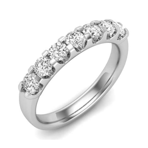 1/4 CT. T.W. Diamond Seven Stone Anniversary Band in 14K White Gold - LA DIAMOND
