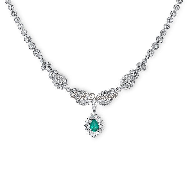 Pear-Shaped Emerald and 3 CT. T.W. Diamond Shadow Frame Necklace in 14K White Gold