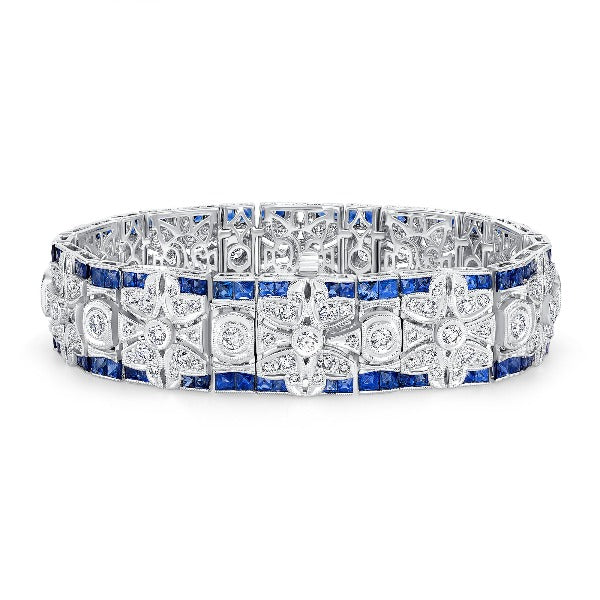 Blue Sapphire and Diamond Flower Filigree Vintage-Style Bracelet in 14K White Gold - LA DIAMOND