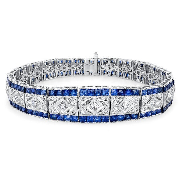 Blue Sapphire and 1/5 CT. T.W. Diamond Bracelet in 14K White Gold