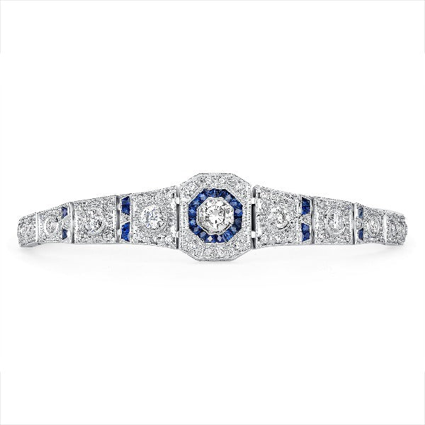 Blue Sapphire and 1 CT. T.W. Diamond Bracelet in 14K White Gold