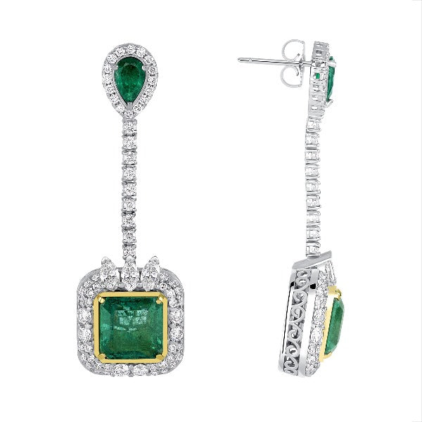 Cushion Emerald and Diamond Accent Drop Earrings in 14K White Gold