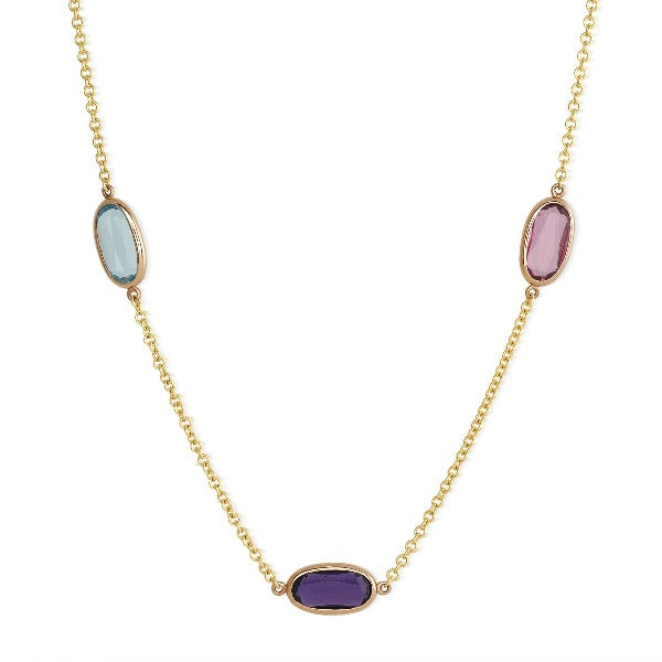 Sideways Oval Multi-Color Sapphire Solitaire Necklace in 14K Yellow Gold