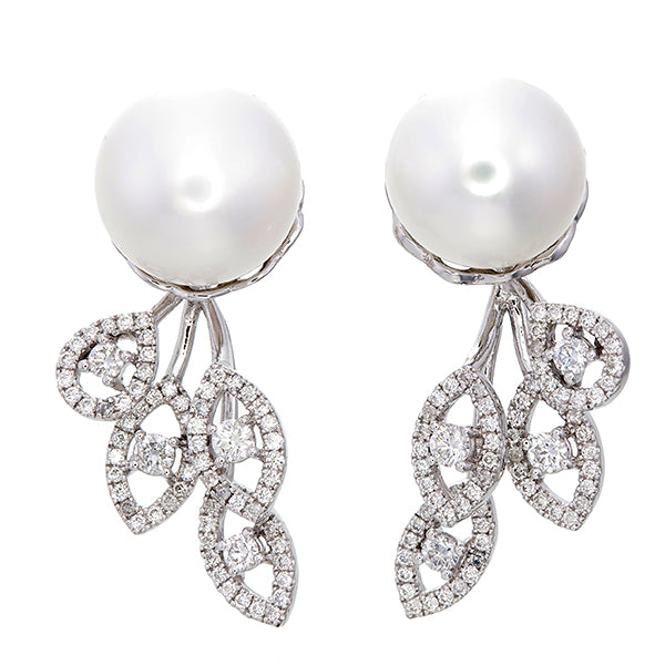 9 mm Cultured Freshwater Pearl Stud and Diamond Trio Front/Back Earrings in White Gold - LA DIAMOND