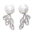 9 mm Cultured Freshwater Pearl Stud and Diamond Trio Front/Back Earrings in White Gold