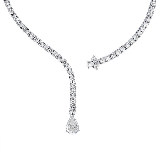 1.5 CT. T.W. Diamond Curved Necklace in 14K White Gold