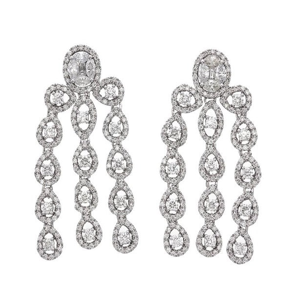 1 CT. T.W. Diamond Vintage-Style Chandelier Drop Earrings in 14K White Gold