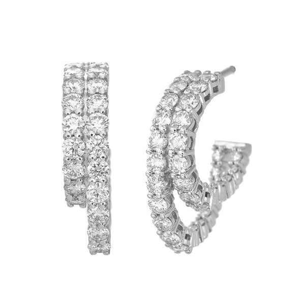 1.2 CT. T.W. Diamond Two Row Hoop Earrings in 14K White Gold - LA DIAMOND