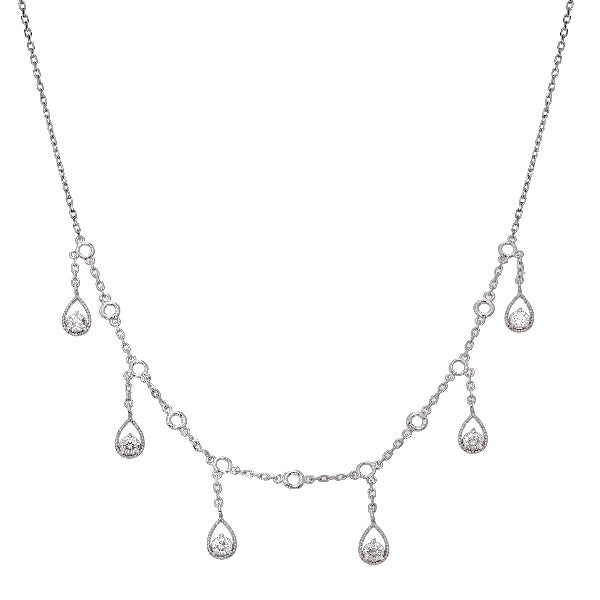 Adjustable 1 CT. T.W. Diamond Drop Necklace in 14K White Gold - LA DIAMOND