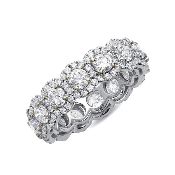 2 CT. T.W. Round Diamond and Diamond Edge Band in 14K Gold - LA DIAMOND