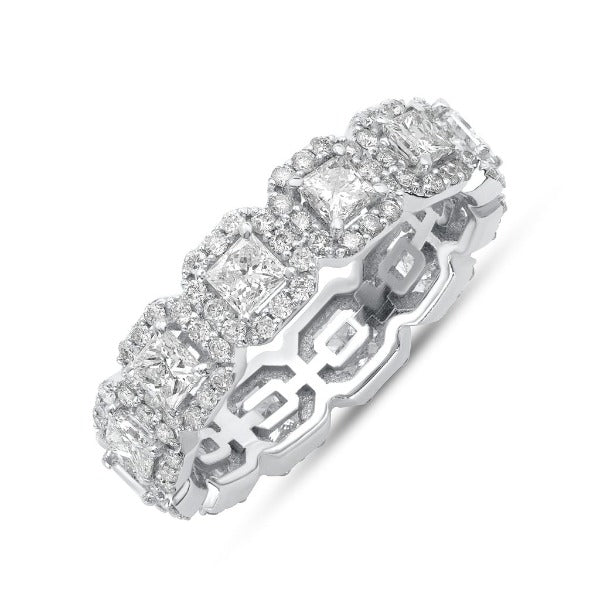 2.63 CT. T.W. Diamond Princess Cut Halo Eternity Band in 18K White Gold - LA DIAMOND