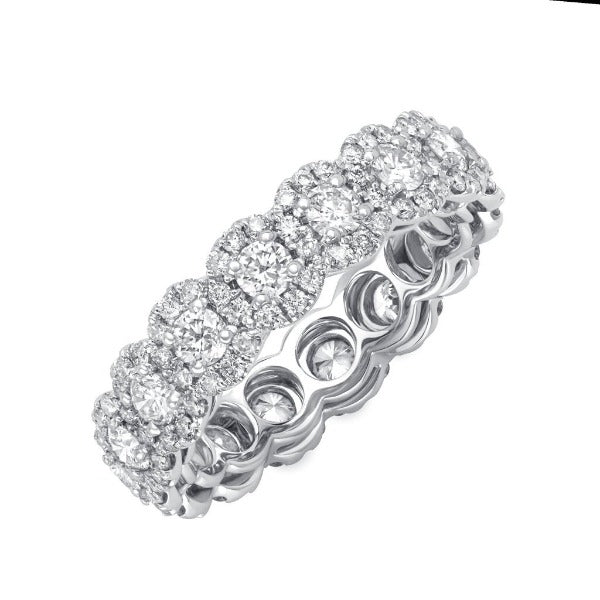 2.13 CT. T.W. Round Diamond Cut Halo Eternity Band in 18K White Gold