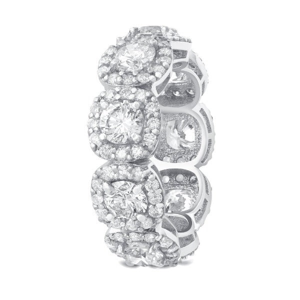 4.03 CT. T.W. Diamond Round Cut Halo Eternity Band in 18K White Gold