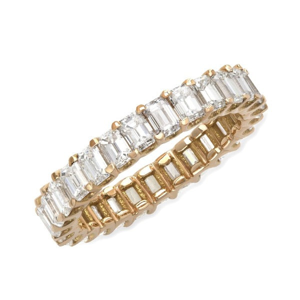 3.90 CT. T.W. Diamond Emerald Cut Eternity Band in 18K Yellow Gold - LA DIAMOND