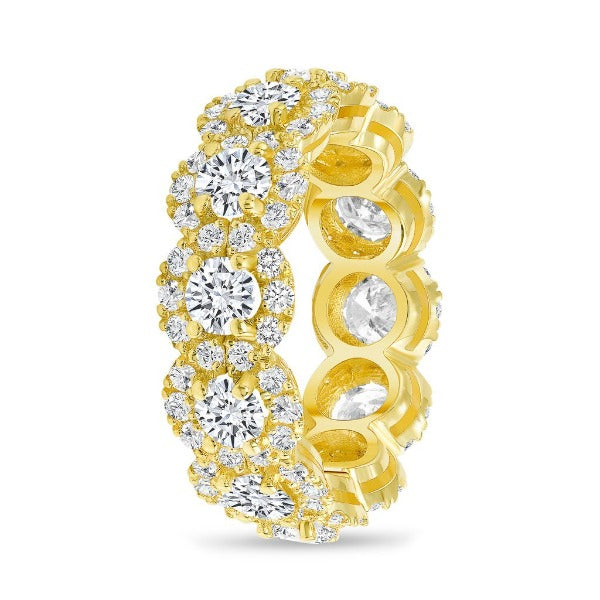 4.06 CT. T.W. Diamond Round Cut Halo Eternity Band in 18K Yellow Gold - LA DIAMOND