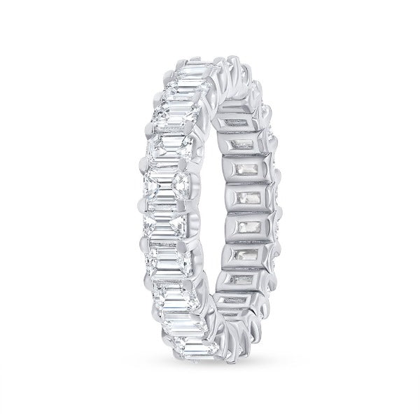 4.39 CT. T.W. Diamond Emerald Cut Eternity Band in 18K White Gold - LA DIAMOND