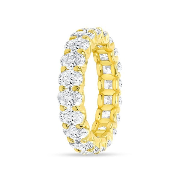 3.83 CT. T.W. Diamond Oval Cut Eternity Band in 18K Yellow Gold