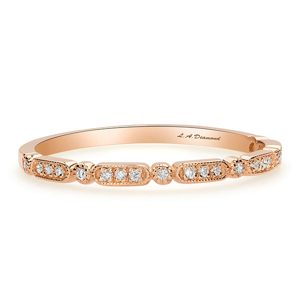 1 CT. T.W. Diamond Vintage-Style Eternity Band in 14K Rose Gold