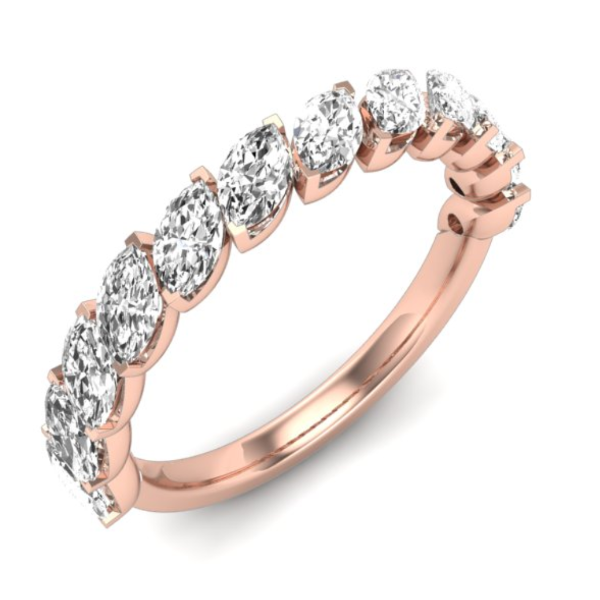 1/2 CT. T.W. Marquise Diamond Wedding Band in 14K Rose Gold - LA DIAMOND