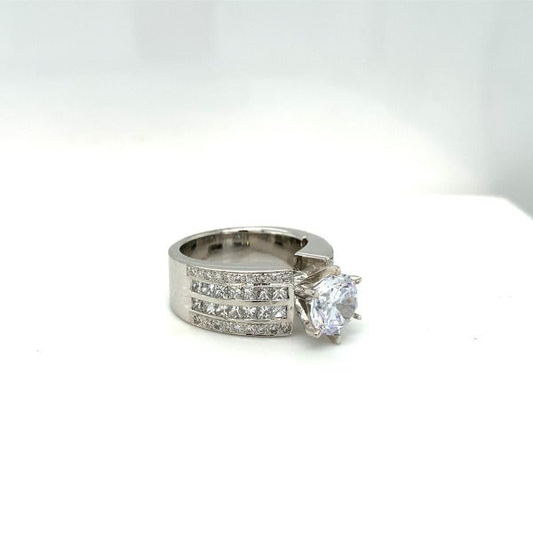 2.20 CT. T.W. Composite Round Diamond Frame Multi-Row Ring in White Gold - LA DIAMOND