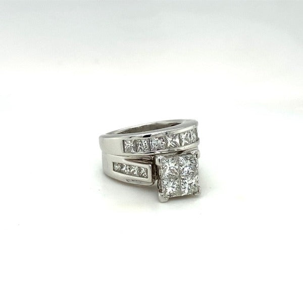 2.44 CT. T.W. Quad Princess-Cut Diamond Bridal Set in White Gold - LA DIAMOND