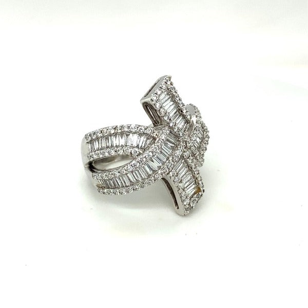 5.01 CT. T.W. Baguette and Round Diamond Multi-Row Bypass Ring in White Gold - LA DIAMOND