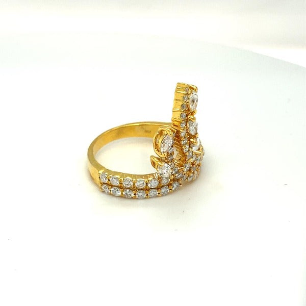 Marquise and Round Diamond Accent Floral Ring in Yellow Gold - LA DIAMOND