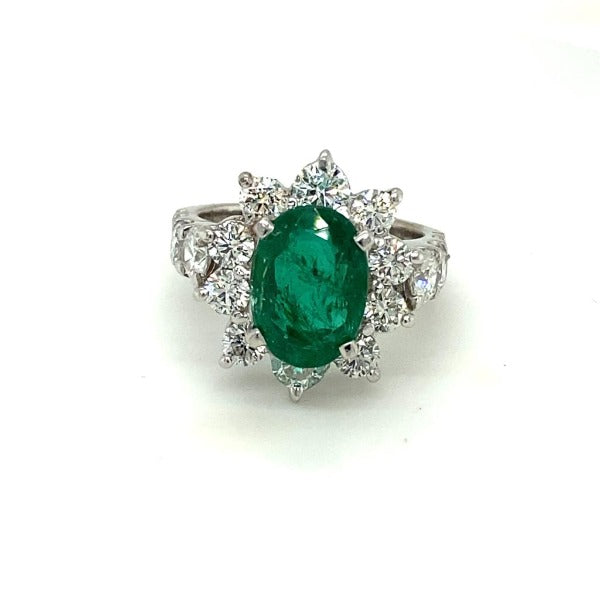 5.44 CT. T.W. Emerald and Diamond Ring in White Gold - LA DIAMOND