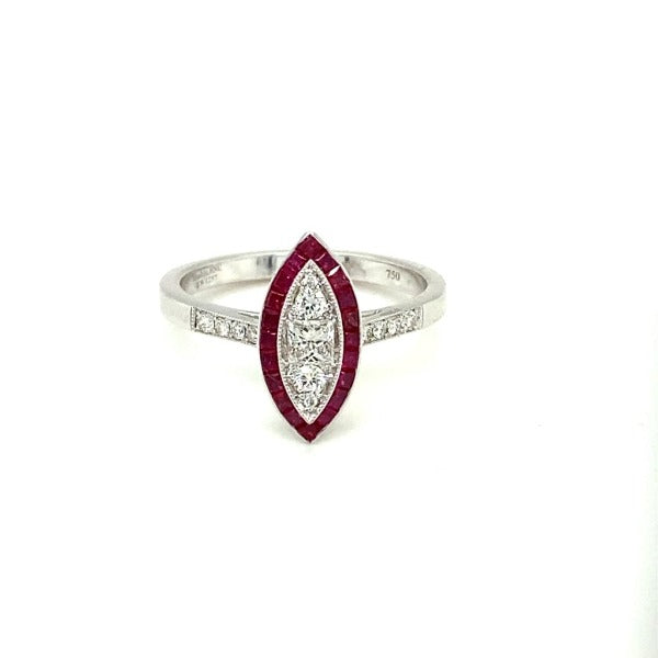 Marquise Ruby and Diamond Frame Ring in 14K White Gold - LA DIAMOND