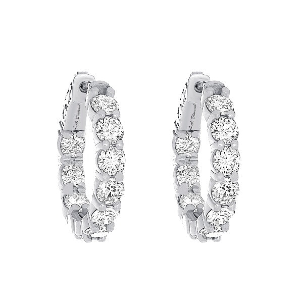 1 CT. T.W. Diamond Hoop Earrings in 14K White Gold