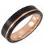 Black & 18K Rose Gold PVD Tungsten 6 mm Band