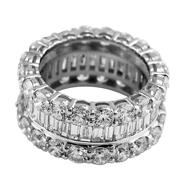 3 CT. T.W. Emerald-Cut Diamond Eternity Band in 14K White Gold - LA DIAMOND