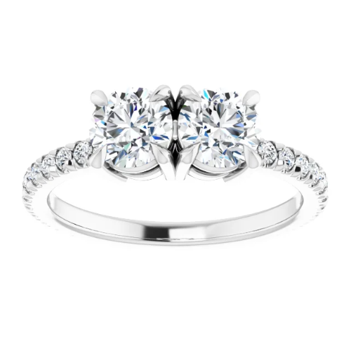 14K White 5.2 mm Round Engagement Ring